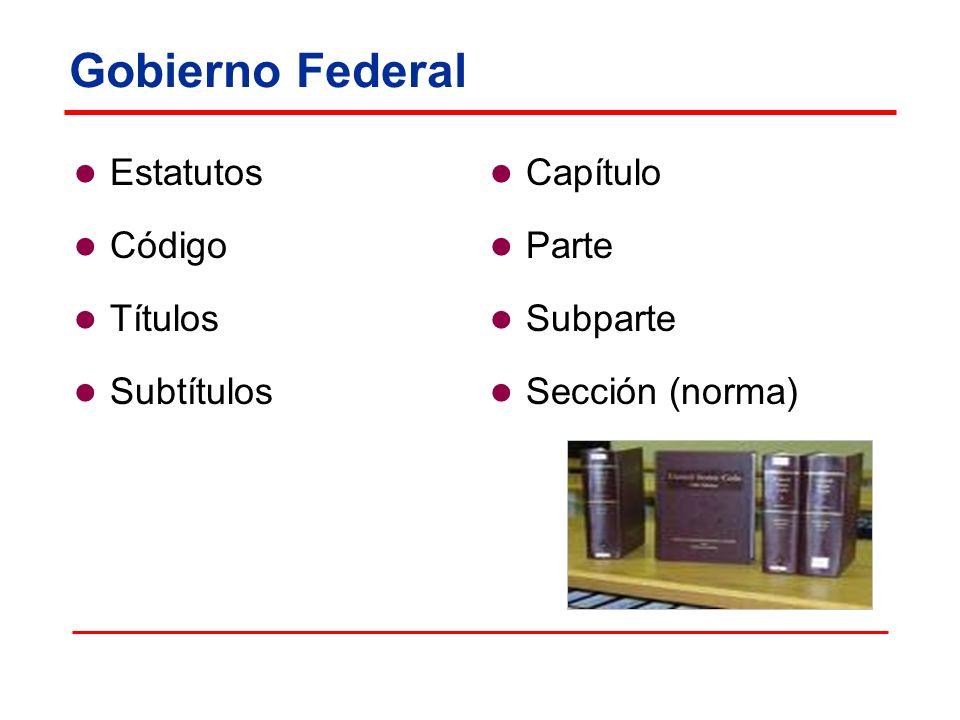 Gobierno Federal Estatutos Código Títulos Subtítulos Capítulo Parte Subparte Sección (norma)