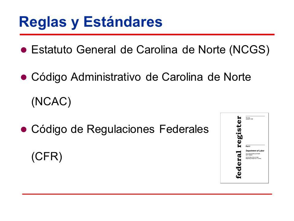 Reglas y Estándares Estatuto General de Carolina de Norte (NCGS) Código Administrativo de Carolina de Norte (NCAC) Código de Regulaciones Federales (C