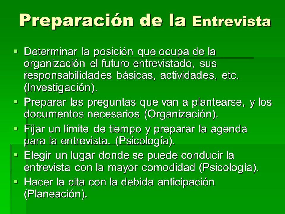 Preparación de la Entrevista Determinar la posición que ocupa de la organización el futuro entrevistado, sus responsabilidades básicas, actividades, e