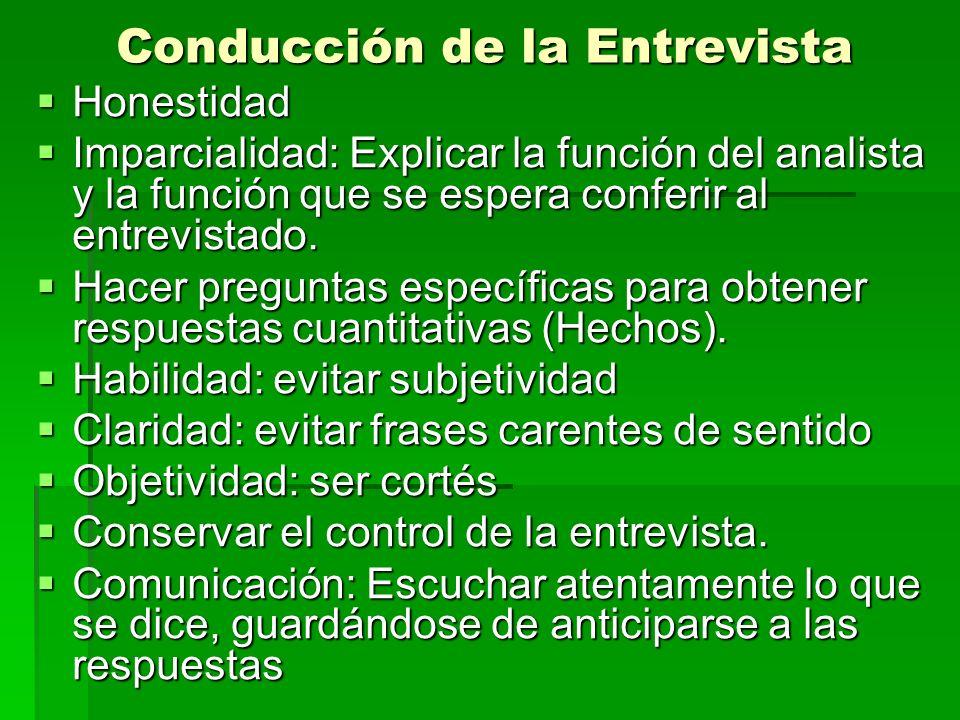 Conducción de la Entrevista Honestidad Honestidad Imparcialidad: Explicar la función del analista y la función que se espera conferir al entrevistado.