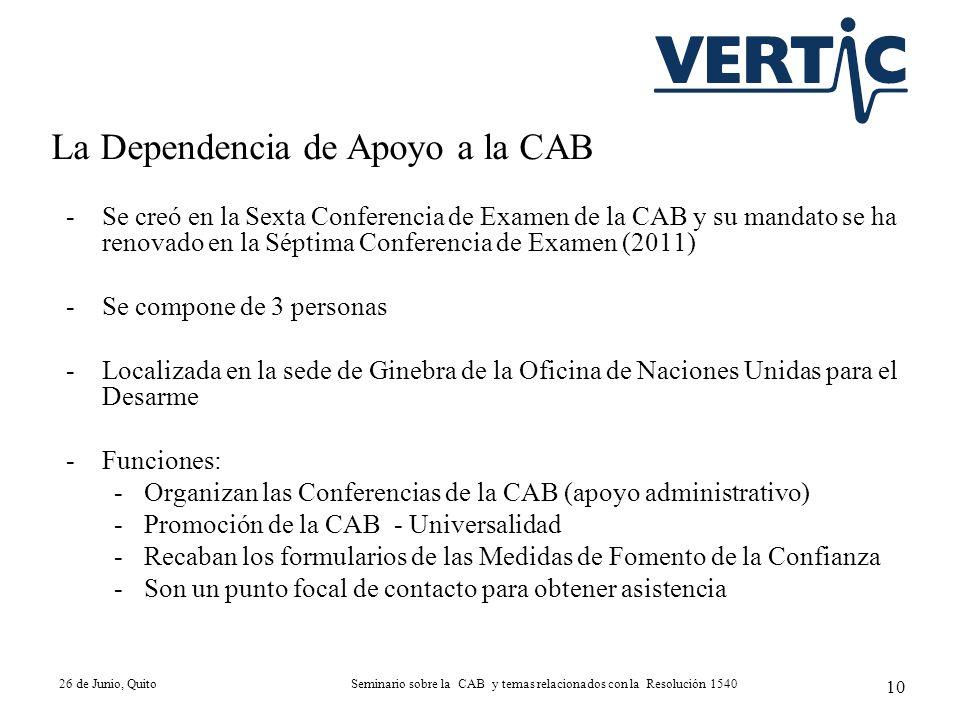 -Se creó en la Sexta Conferencia de Examen de la CAB y su mandato se ha renovado en la Séptima Conferencia de Examen (2011) -Se compone de 3 personas
