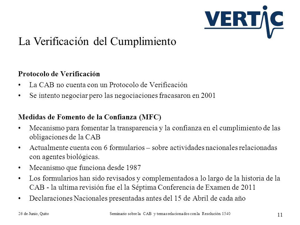 Protocolo de Verificación La CAB no cuenta con un Protocolo de Verificación Se intento negociar pero las negociaciones fracasaron en 2001 Medidas de F
