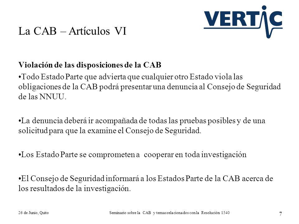 Violación de las disposiciones de la CAB Todo Estado Parte que advierta que cualquier otro Estado viola las obligaciones de la CAB podrá presentar una