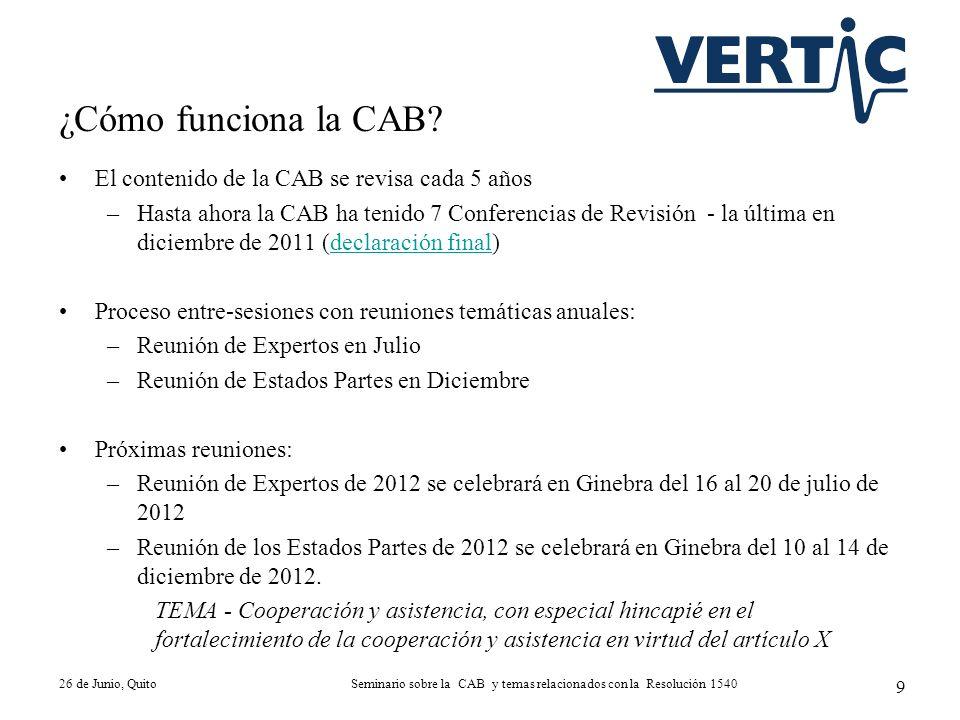 El contenido de la CAB se revisa cada 5 años –Hasta ahora la CAB ha tenido 7 Conferencias de Revisión - la última en diciembre de 2011 (declaración fi