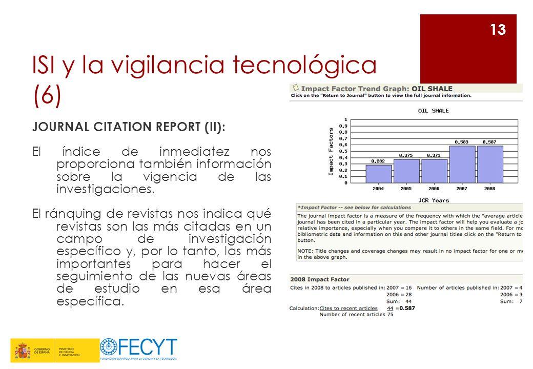 ISI y la vigilancia tecnológica (6) JOURNAL CITATION REPORT (II): El índice de inmediatez nos proporciona también información sobre la vigencia de las