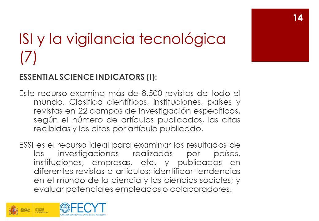 ISI y la vigilancia tecnológica (7) ESSENTIAL SCIENCE INDICATORS (I): Este recurso examina más de 8.500 revistas de todo el mundo. Clasifica científic