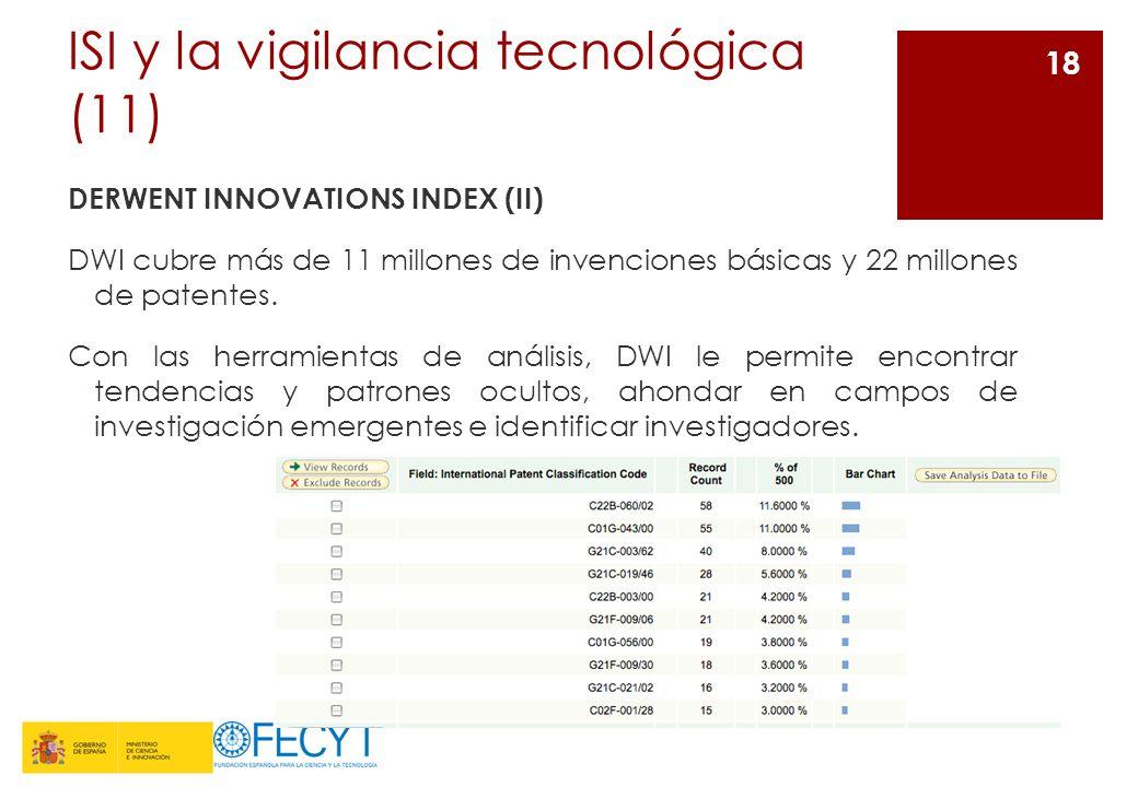 ISI y la vigilancia tecnológica (11) DERWENT INNOVATIONS INDEX (II) DWI cubre más de 11 millones de invenciones básicas y 22 millones de patentes. Con