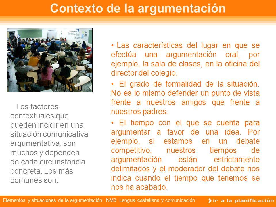 Elementos y situaciones de la argumentación NM3 Lengua castellana y comunicación Contexto de la argumentación Los factores contextuales que pueden incidir en una situación comunicativa argumentativa, son muchos y dependen de cada circunstancia concreta.