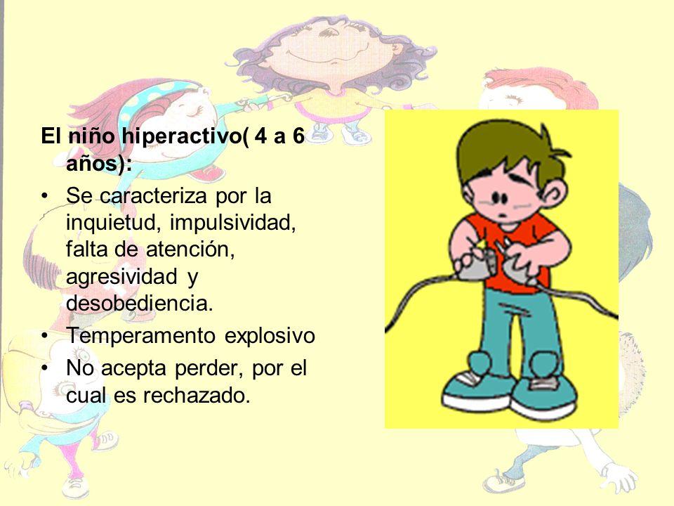 El niño hiperactivo( 4 a 6 años): Se caracteriza por la inquietud, impulsividad, falta de atención, agresividad y desobediencia. Temperamento explosiv
