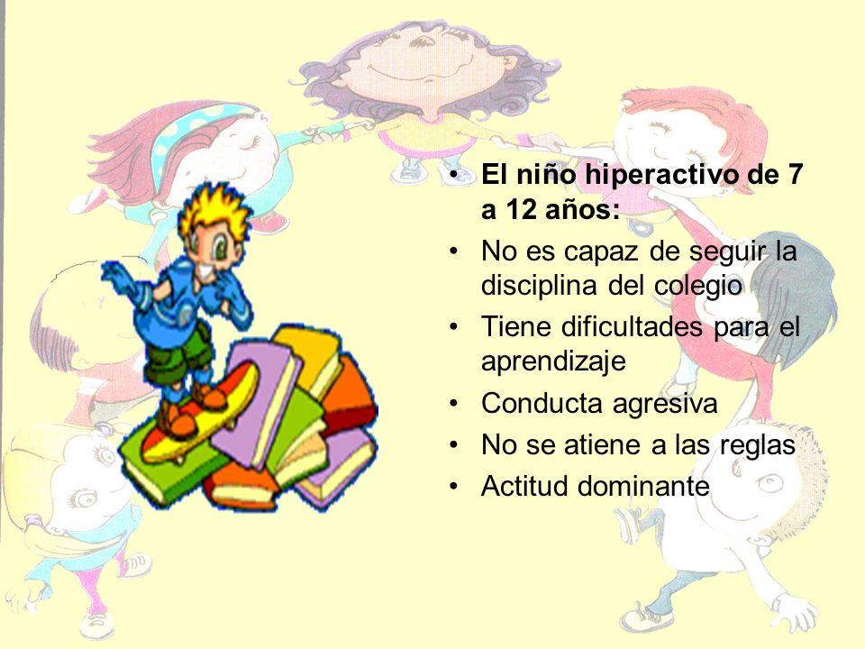 El niño hiperactivo de 7 a 12 años: No es capaz de seguir la disciplina del colegio Tiene dificultades para el aprendizaje Conducta agresiva No se atiene a las reglas Actitud dominante