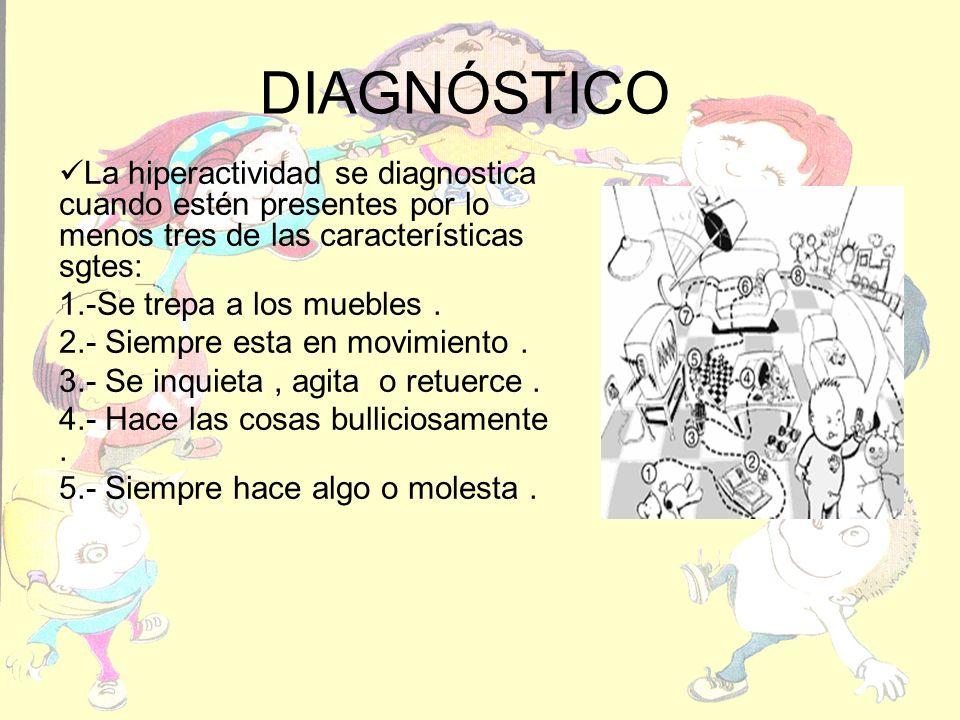 DIAGNÓSTICO La hiperactividad se diagnostica cuando estén presentes por lo menos tres de las características sgtes: 1.-Se trepa a los muebles. 2.- Sie