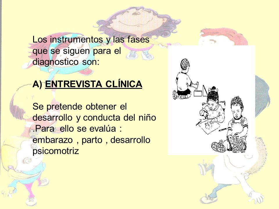 Los instrumentos y las fases que se siguen para el diagnostico son: A) ENTREVISTA CLÍNICA Se pretende obtener el desarrollo y conducta del niño.Para ello se evalúa : embarazo, parto, desarrollo psicomotriz