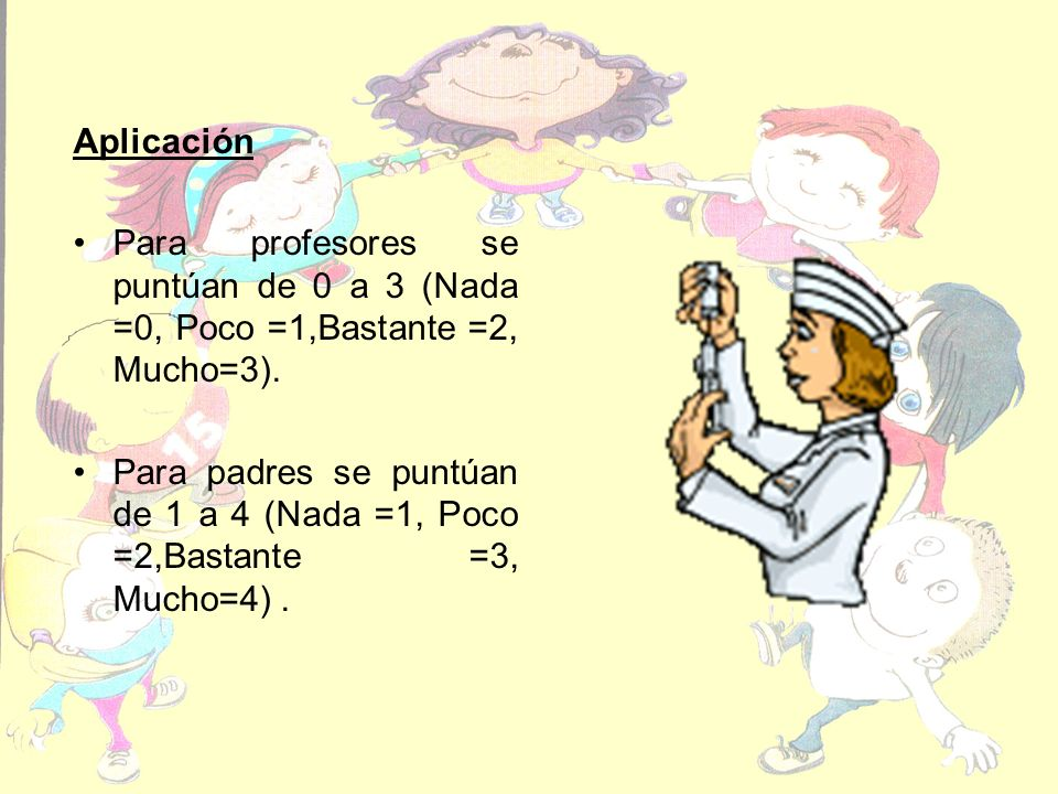 Aplicación Para profesores se puntúan de 0 a 3 (Nada =0, Poco =1,Bastante =2, Mucho=3).