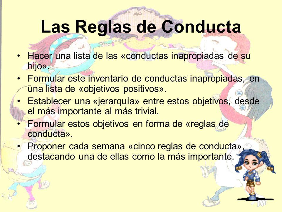 Las Reglas de Conducta Hacer una lista de las «conductas inapropiadas de su hijo». Formular este inventario de conductas inapropiadas, en una lista de