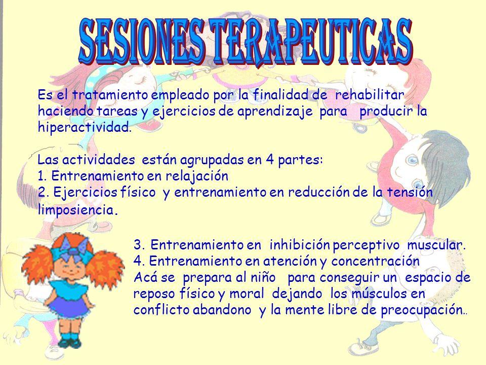 Es el tratamiento empleado por la finalidad de rehabilitar haciendo tareas y ejercicios de aprendizaje para producir la hiperactividad. Las actividade