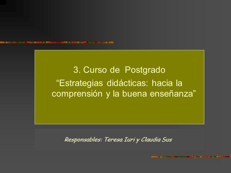 3. Curso de Postgrado Estrategias didácticas: hacia la comprensión y la buena enseñanza Responsables: Teresa Iuri y Claudia Sus