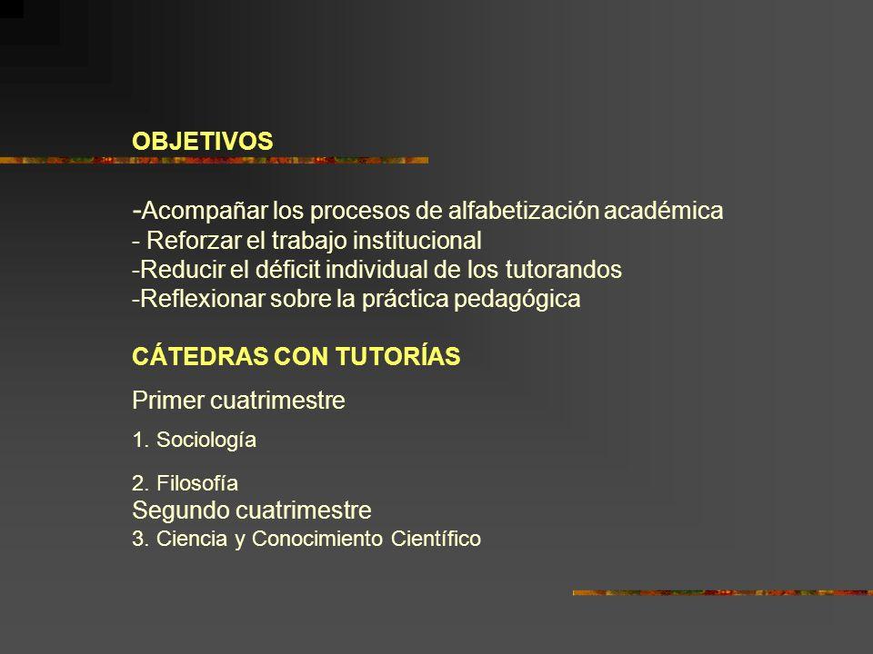 OBJETIVOS - Acompañar los procesos de alfabetización académica - Reforzar el trabajo institucional -Reducir el déficit individual de los tutorandos -R