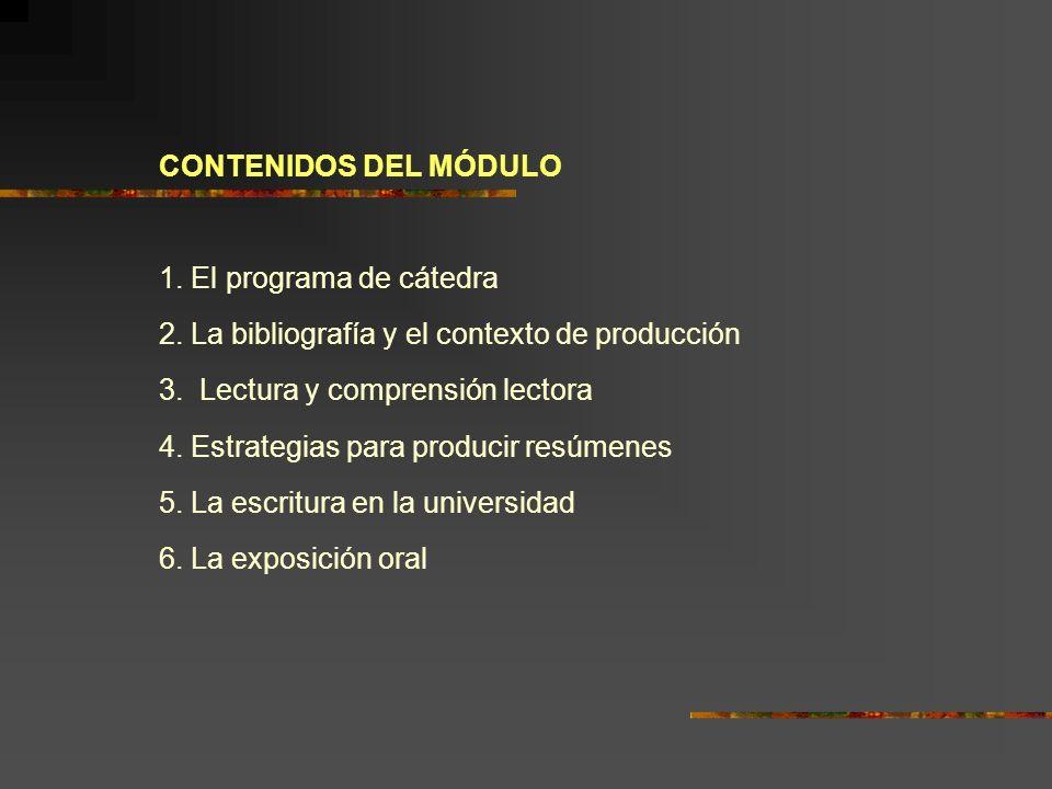 CONTENIDOS DEL MÓDULO 1. El programa de cátedra 2. La bibliografía y el contexto de producción 3. Lectura y comprensión lectora 4. Estrategias para pr