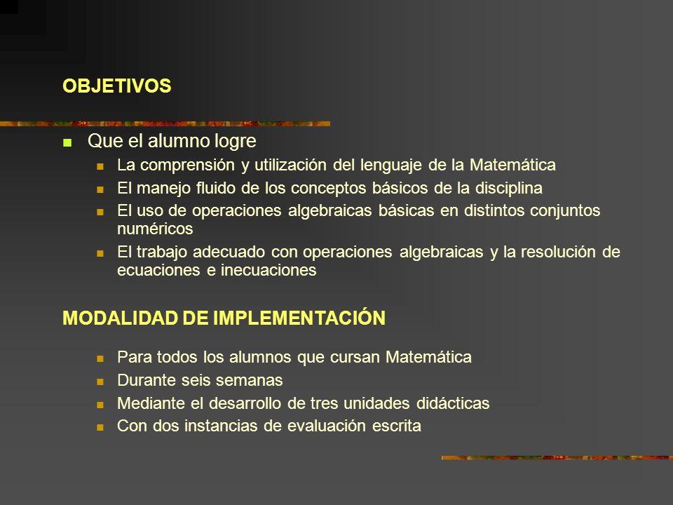 OBJETIVOS Que el alumno logre La comprensión y utilización del lenguaje de la Matemática El manejo fluido de los conceptos básicos de la disciplina El