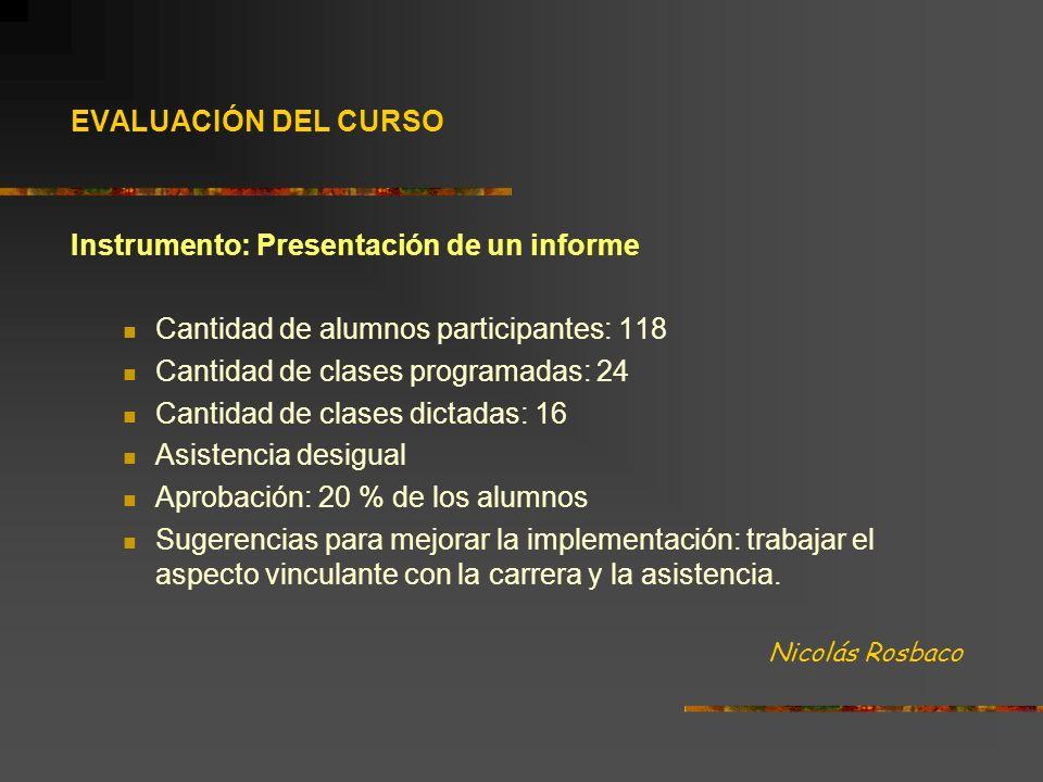 EVALUACIÓN DEL CURSO Instrumento: Presentación de un informe Cantidad de alumnos participantes: 118 Cantidad de clases programadas: 24 Cantidad de cla