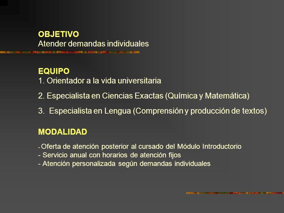 OBJETIVO Atender demandas individuales EQUIPO 1. Orientador a la vida universitaria 2. Especialista en Ciencias Exactas (Química y Matemática) 3. Espe