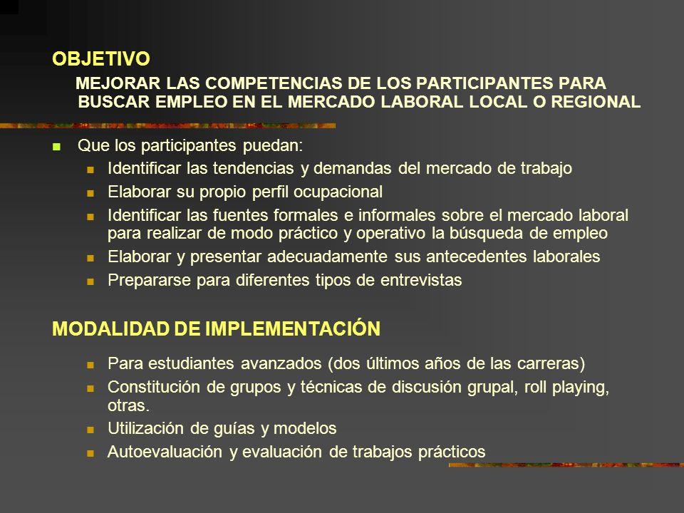 OBJETIVO MEJORAR LAS COMPETENCIAS DE LOS PARTICIPANTES PARA BUSCAR EMPLEO EN EL MERCADO LABORAL LOCAL O REGIONAL Que los participantes puedan: Identif