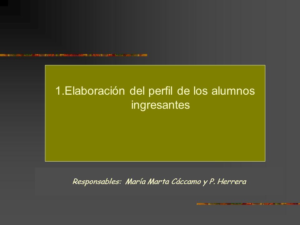 1.Elaboración del perfil de los alumnos ingresantes Responsables: María Marta Cáccamo y P. Herrera