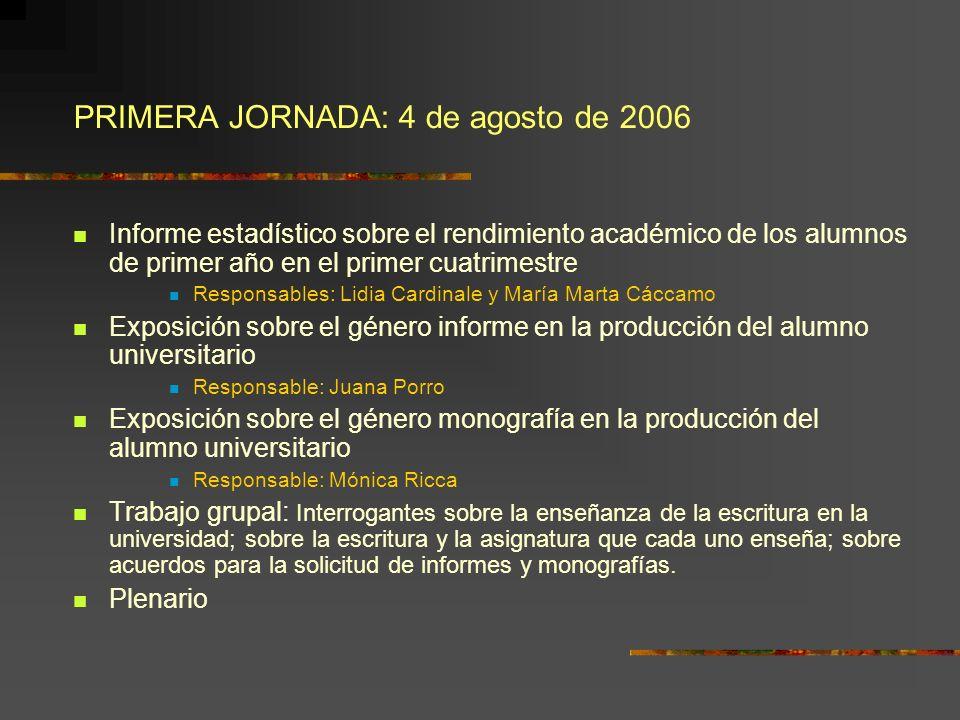 PRIMERA JORNADA: 4 de agosto de 2006 Informe estadístico sobre el rendimiento académico de los alumnos de primer año en el primer cuatrimestre Respons