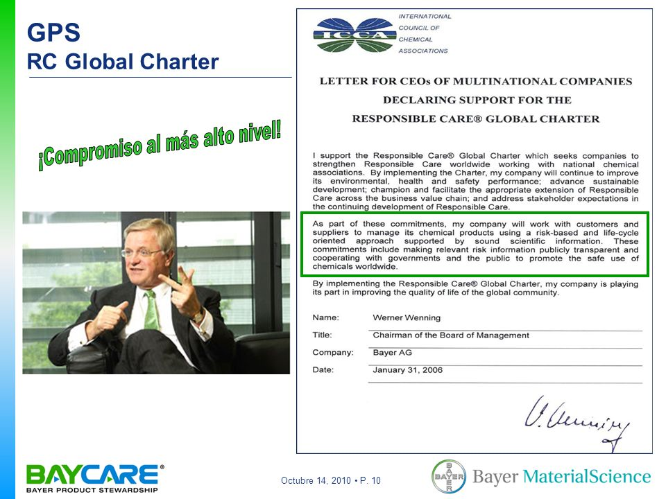 Octubre 14, 2010 P. 10 GPS RC Global Charter