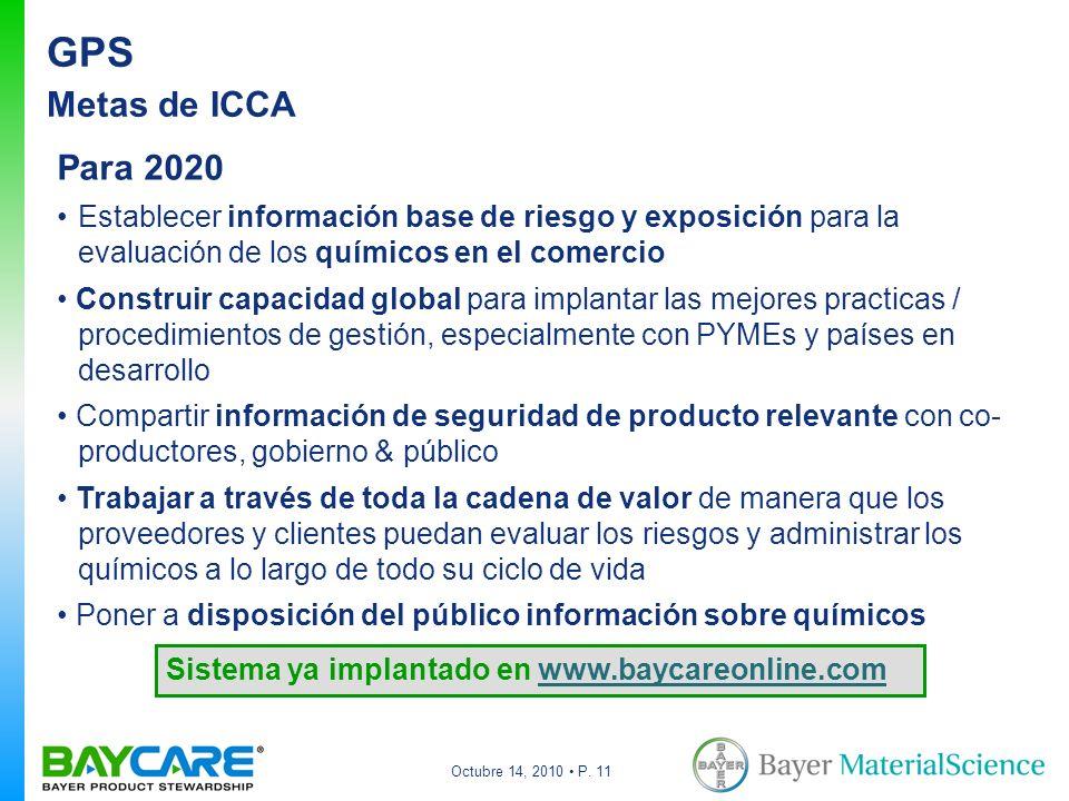 Octubre 14, 2010 P. 11 GPS Metas de ICCA Para 2020 Establecer información base de riesgo y exposición para la evaluación de los químicos en el comerci
