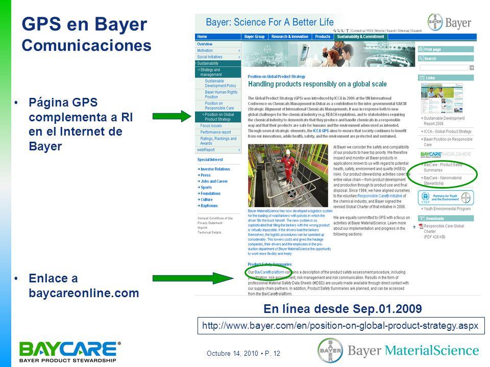Octubre 14, 2010 P. 12 GPS en Bayer Comunicaciones Página GPS complementa a RI en el Internet de Bayer Enlace a baycareonline.com En línea desde Sep.0