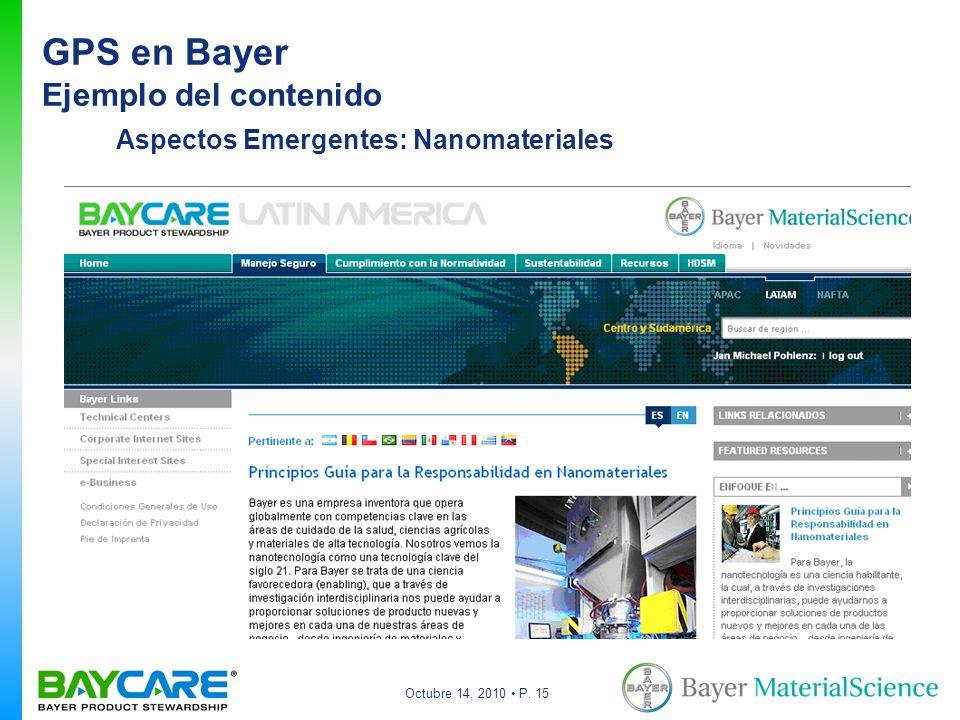 Octubre 14, 2010 P. 15 Aspectos Emergentes: Nanomateriales GPS en Bayer Ejemplo del contenido