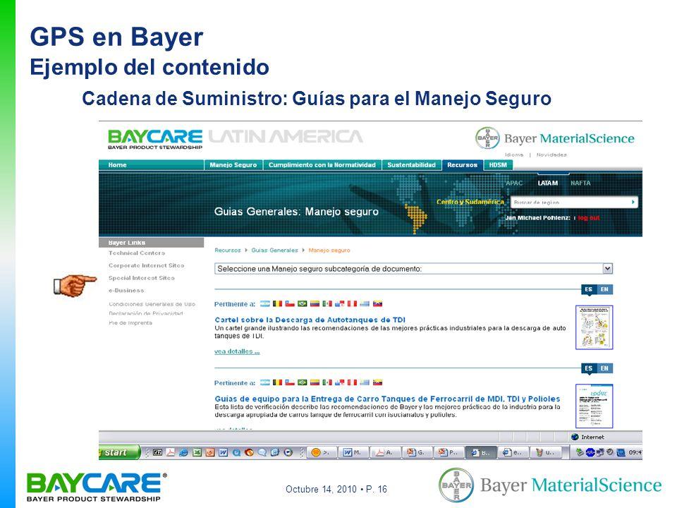 Octubre 14, 2010 P. 16 Cadena de Suministro: Guías para el Manejo Seguro GPS en Bayer Ejemplo del contenido