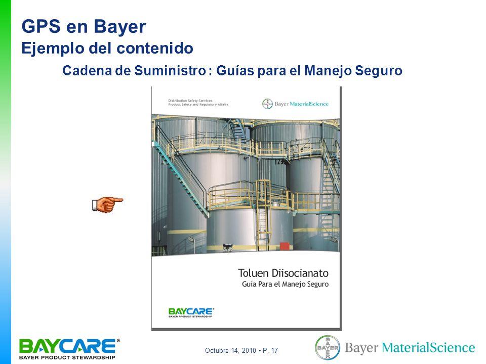 Octubre 14, 2010 P. 17 Cadena de Suministro : Guías para el Manejo Seguro GPS en Bayer Ejemplo del contenido