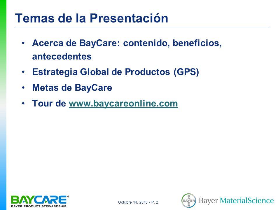 Octubre 14, 2010 P. 2 Temas de la Presentación Acerca de BayCare: contenido, beneficios, antecedentes Estrategia Global de Productos (GPS) Metas de Ba