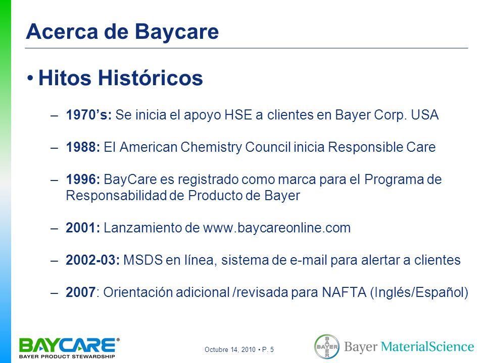 Octubre 14, 2010 P. 5 Acerca de Baycare Hitos Históricos –1970s: Se inicia el apoyo HSE a clientes en Bayer Corp. USA –1988: El American Chemistry Cou