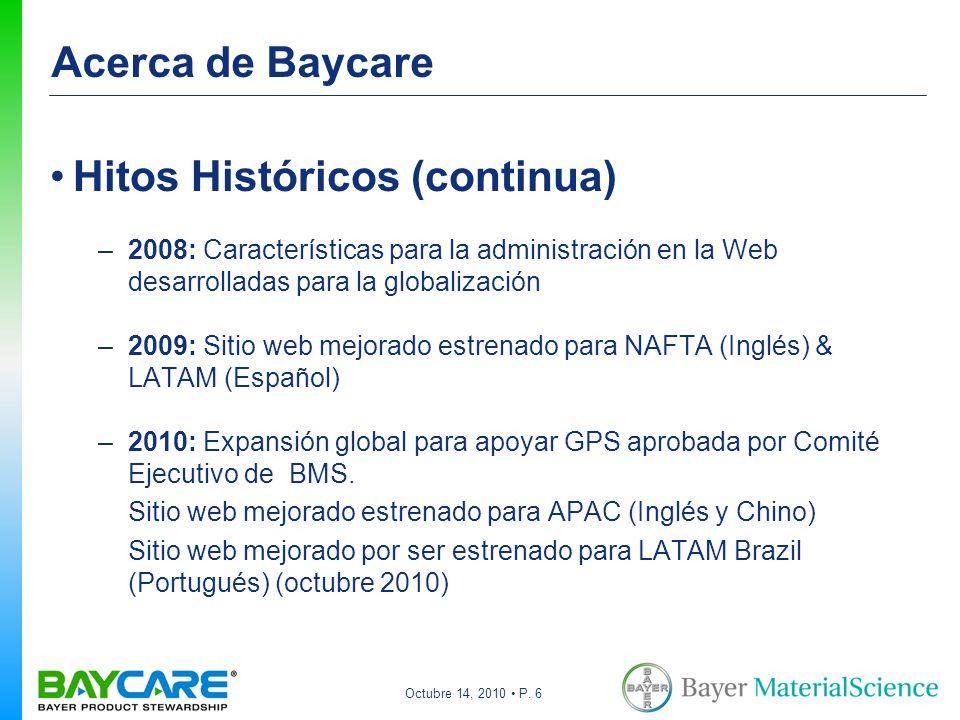 Octubre 14, 2010 P. 6 Acerca de Baycare Hitos Históricos (continua) –2008: Características para la administración en la Web desarrolladas para la glob