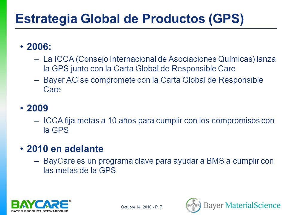 Octubre 14, 2010 P. 7 Estrategia Global de Productos (GPS) 2006: –La ICCA (Consejo Internacional de Asociaciones Químicas) lanza la GPS junto con la C