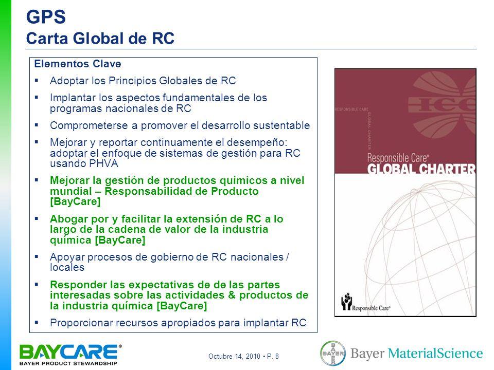 Octubre 14, 2010 P. 8 GPS Carta Global de RC Elementos Clave Adoptar los Principios Globales de RC Implantar los aspectos fundamentales de los program