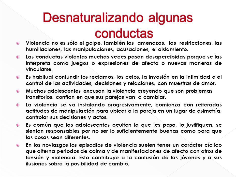 Violencia no es sólo el golpe, también las amenazas, las restricciones, las humillaciones, las manipulaciones, acusaciones, el aislamiento. Las conduc