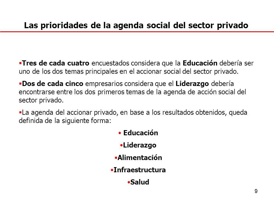 10 ¿Cuál será la agenda de aporte a la sociedad que debería atender su empresa en particular? (P.6)