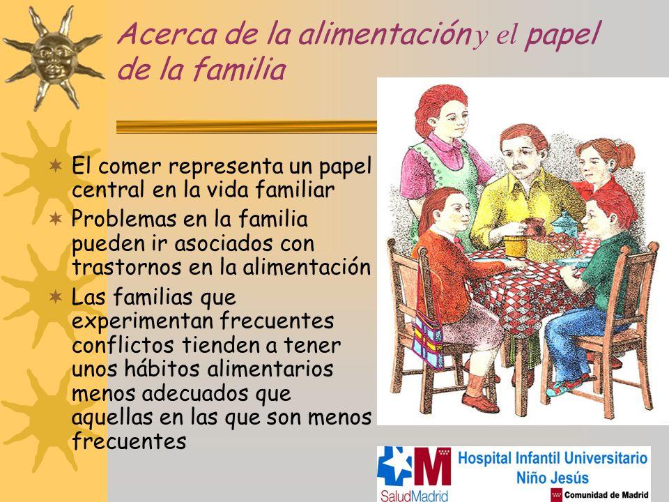 Acerca de la alimentación y el papel de la familia El comer representa un papel central en la vida familiar Problemas en la familia pueden ir asociado