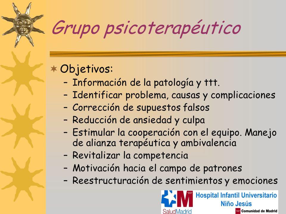 Grupo psicoterapéutico Objetivos: –Información de la patología y ttt. –Identificar problema, causas y complicaciones –Corrección de supuestos falsos –