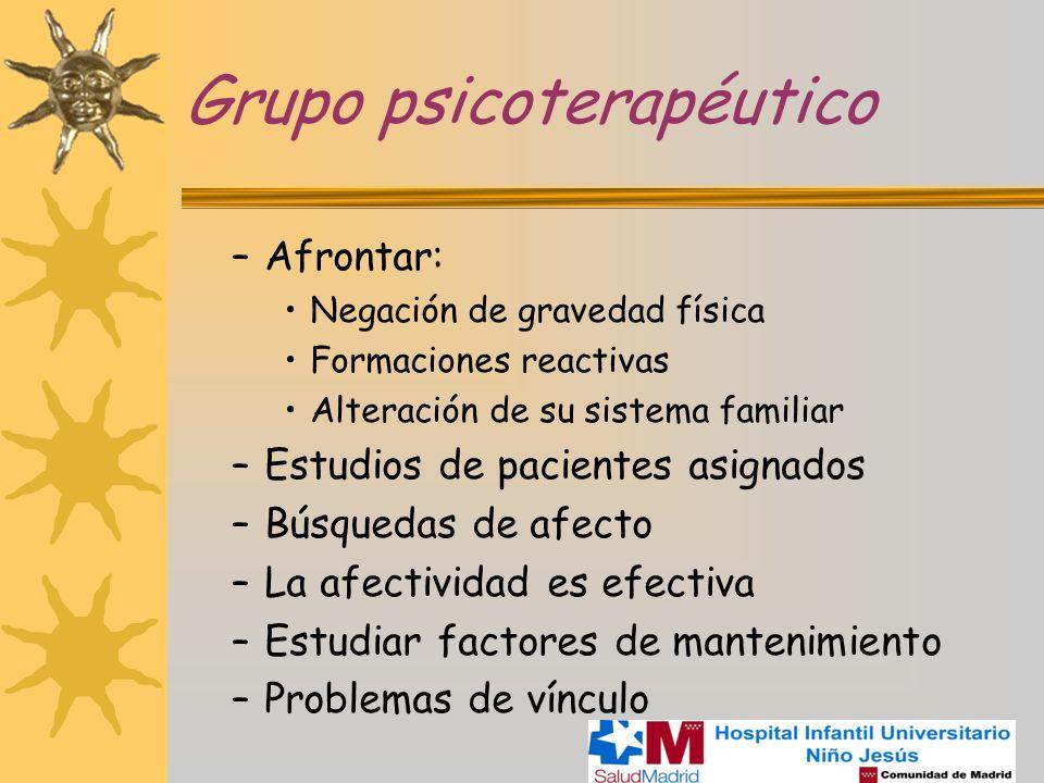 Grupo psicoterapéutico –Afrontar: Negación de gravedad física Formaciones reactivas Alteración de su sistema familiar –Estudios de pacientes asignados