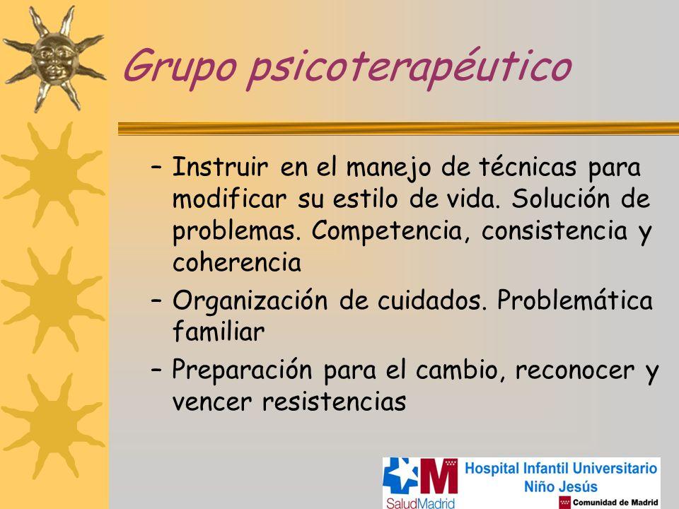 Grupo psicoterapéutico –Instruir en el manejo de técnicas para modificar su estilo de vida. Solución de problemas. Competencia, consistencia y coheren