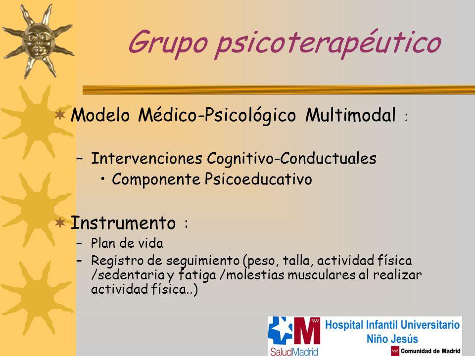 Grupo psicoterapéutico Modelo Médico-Psicológico Multimodal : –Intervenciones Cognitivo-Conductuales Componente Psicoeducativo Instrumento : –Plan de