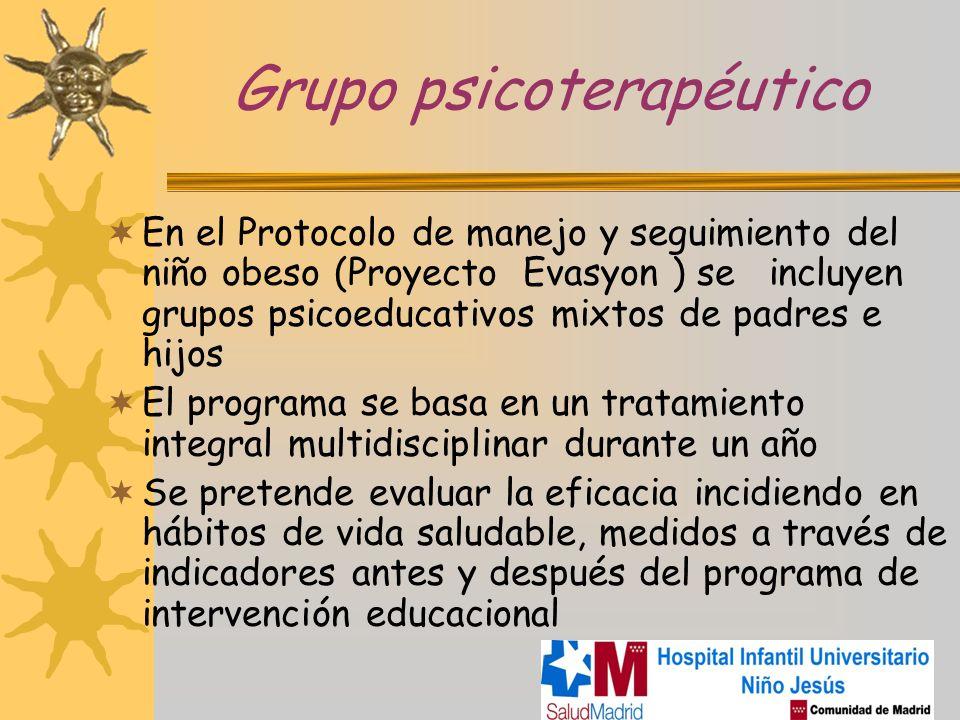 Grupo psicoterapéutico En el Protocolo de manejo y seguimiento del niño obeso (Proyecto Evasyon ) se incluyen grupos psicoeducativos mixtos de padres