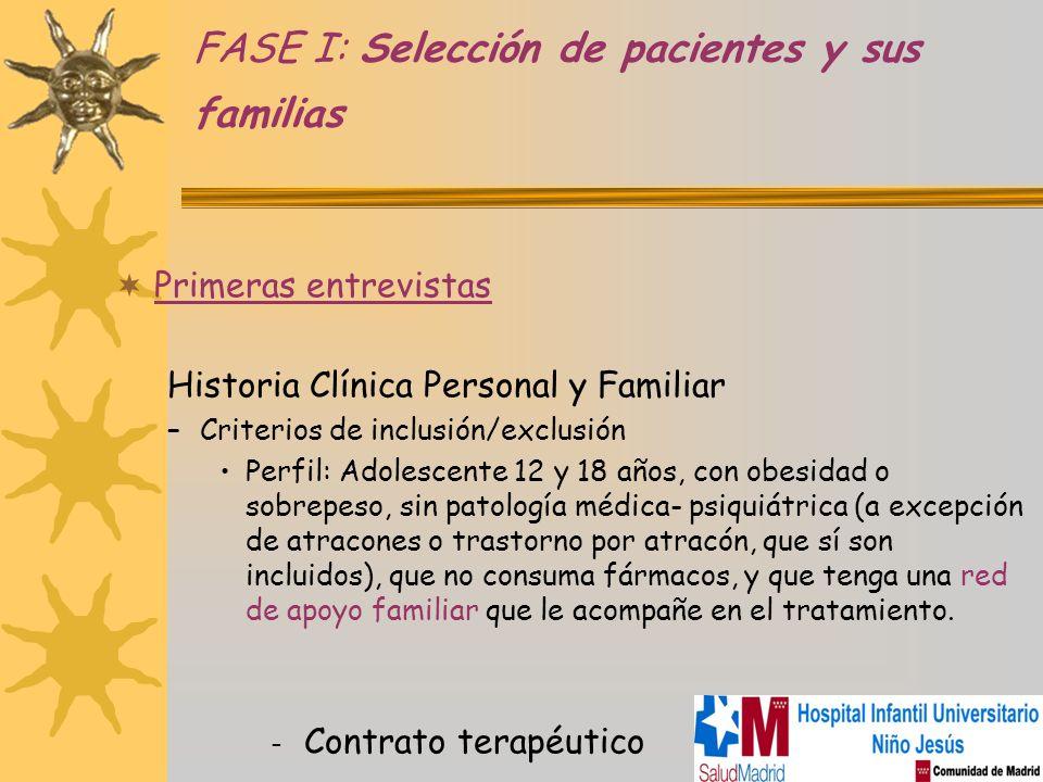 FASE I: Selección de pacientes y sus familias Primeras entrevistas Historia Clínica Personal y Familiar –Criterios de inclusión/exclusión Perfil: Adol