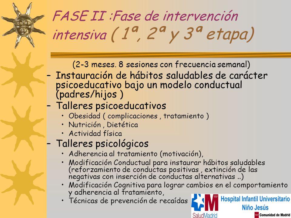 FASE II :Fase de intervención intensiva ( 1ª, 2ª y 3ª etapa) (2-3 meses. 8 sesiones con frecuencia semanal) –Instauración de hábitos saludables de car