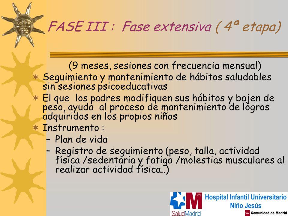 FASE III : Fase extensiva ( 4ª etapa) (9 meses, sesiones con frecuencia mensual) Seguimiento y mantenimiento de hábitos saludables sin sesiones psicoe